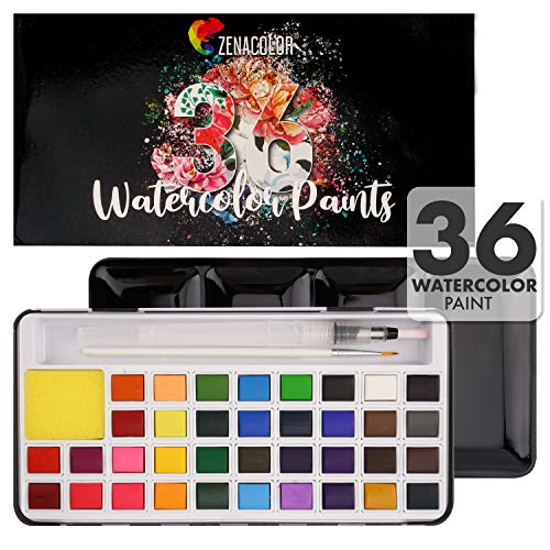 36 Watercolor Paint Set and Watercolor Paint Brushes For Kids - Paint for Kids and Adults Includes a Paint Pen - Metallic Case with Detachable Cake Pan Paint Pallet - Non-Toxic Watercolor Paint Set