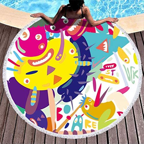 JEFFERS Roundie Circle Beach Terry met kwast zwembad zwemmen dikke strand handdoeken Monsters Graffiti slechte handschrift Meditatie deken