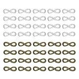 Set di 40 ciondoli a forma di infinito, in lega, 2 colorati, argento antico e bronzo, con simbolo portafortuna, fai da te