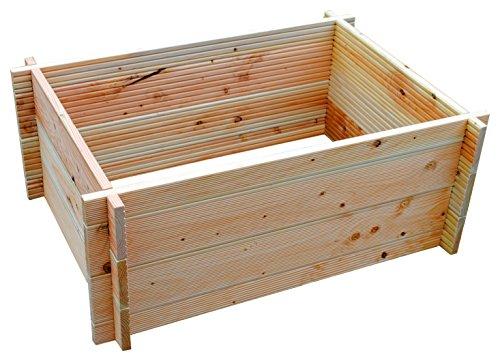 GrünerGarten® GRÖN S-80, Bio-Hochbeet aus Holzbohlen - Premium-Qualität, kinderleichter Zusammenbau ohne Werkzeug, Bio-Massivholz Douglasie,ohne giftige Chemie, 110 x 80 x 45 cm (B/T/H)