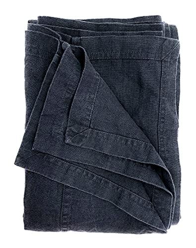 JOWOLLINA Bettüberwurf Tagesdecke Rasa aus 100prozent Leinen Stonewashed (Anthrazit, 260x280 cm)