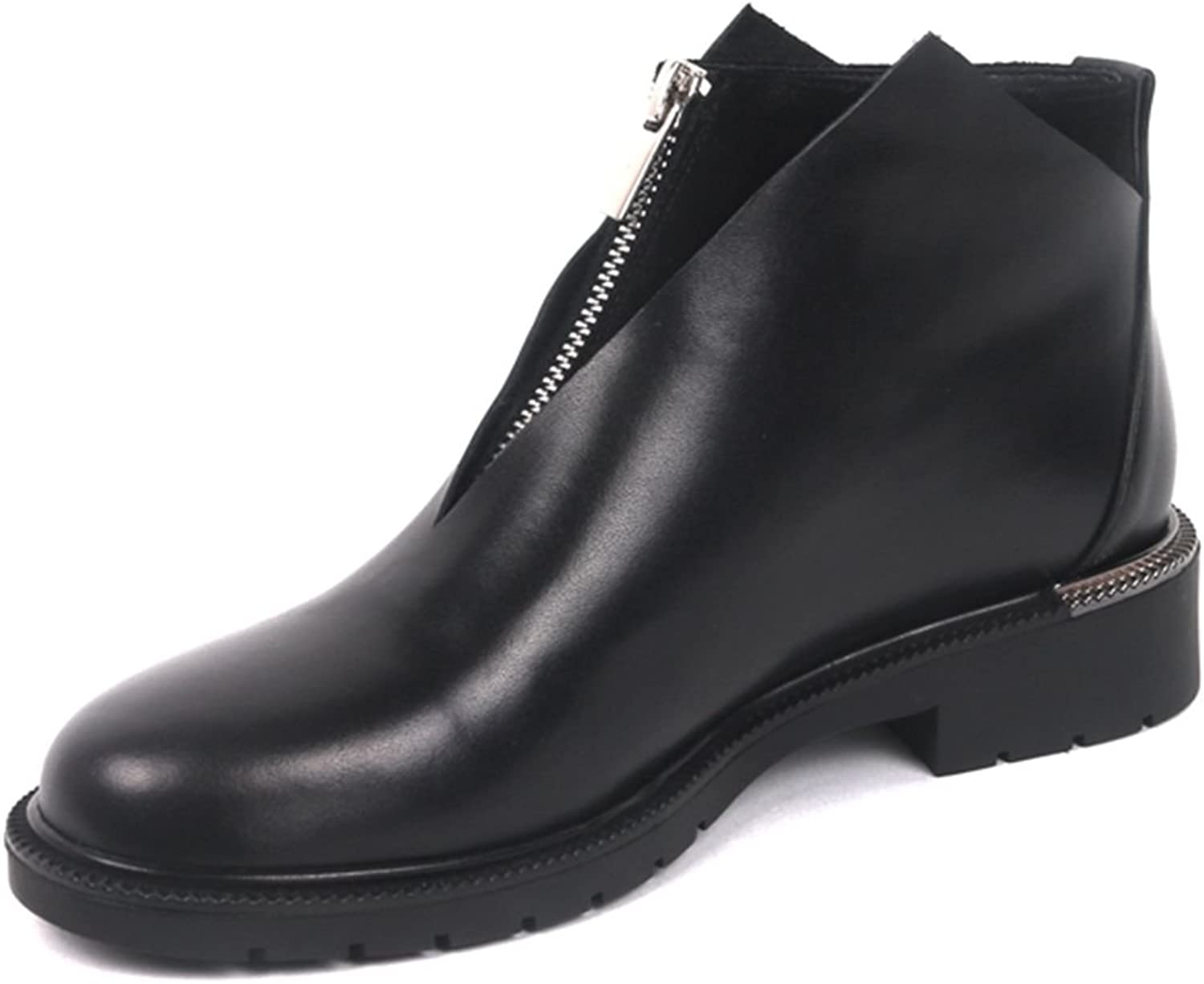 DoraTasia Women's Black Cow Leather Round Toe Concise Zipper Ankle Booties