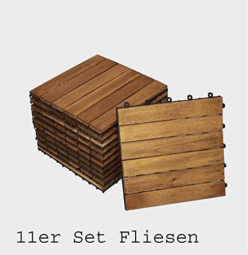 11er Spar-Set Holzfliese 01 für 1 m², Terrassenfliese aus Akazien-Holz, Fliese mit 6 Latten für Garten Terrasse, Balkon Bodenbelag mit Drainage-Unterkonstruktion für problemfreien Wasserablauf unter den Fliesen