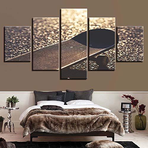 HD Prints Home Decor 5 stuks Wall Art nachtkastje achtergrond modulaire skateboard foto's Artwork canvas schilderij creatieve poster