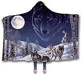 ZHEYANG Batamanta con Capucha Manta Sofa Manta de Tiro de Franela de Microfibra con Estampado de Lobo de montaña de Nieve Manta de Lana cálida y esponjosa Suave Model:G01509(Size:150x200cm)