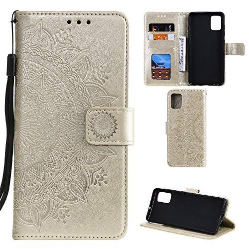 CoverKingz Handyhülle für Samsung Galaxy Note10 Lite - Handytasche mit Kartenfach Galaxy Note10 Lite Cover – Handy Hülle klappbar Motiv Mandala Gold
