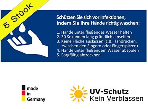 5 Stück Aufkleber Händewaschen Hinweis Schild zur Anleitung zum richtigen Hände waschen und Handhygiene DIN A6 lang (7,4 x 21 cm) (Händewaschen)