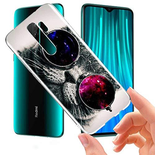 ZhuoFan Funda Xiaomi Redmi Note 8 Pro, Cárcasa Silicona Transparente con Dibujos Diseño Suave TPU Antigolpes de Protector Piel Case Cover Fundas para Movil Xiaomi Red mi Note 8Pro, Gato