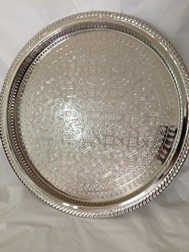31cm marocchino Handmade servizio da tè vassoio argento placcato ottone artigianale piastra in fez Morocco