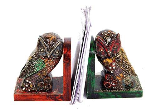 Purpledip Handbemalte Buchstützen aus Holz in Eulenform, Geschenk für Leser, Buchliebhaber, Lehrer (10300)