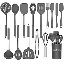 powerful Silicone Kitchen Utensils Set, 15 Umite Chef Kitchen Utensils. A set of cooking utensils with a non-stick coating …