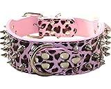 haoyueer Collar de perro de cuero con tachuelas de bala de 5 cm de ancho, elegantes collares de cuero para perros medianos y grandes Pitbull … (L, leopardo rosa)