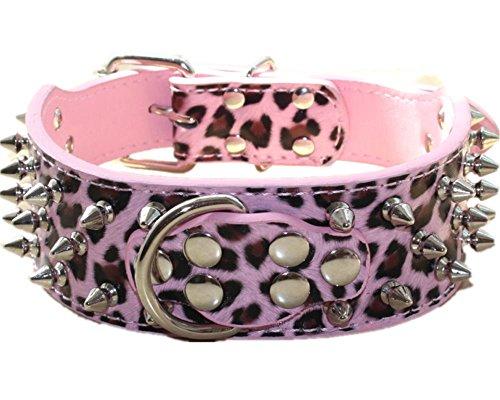 Haoyueer - Collare per cani in pelle con rivetti borchiati, larghezza 5 cm, elegante collare in pelle per cani di taglia media e grande: Pitbull, ecc. (L, rosa leopardato)