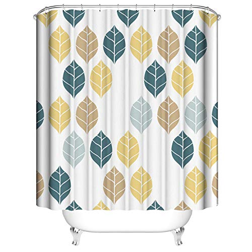 Fuloon Fabric Shower Curtains, Heavy Duty Waterproof Polyester Thick Shower Curtains for Bathroom Showers, Stalls and Bathtubs,72 X 72 INCH Yellow Blue Leaves