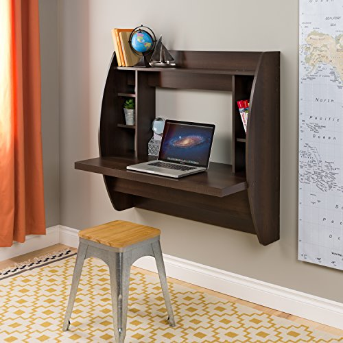 Prepac Wall Mounted Floating Desk with Storage, Espresso