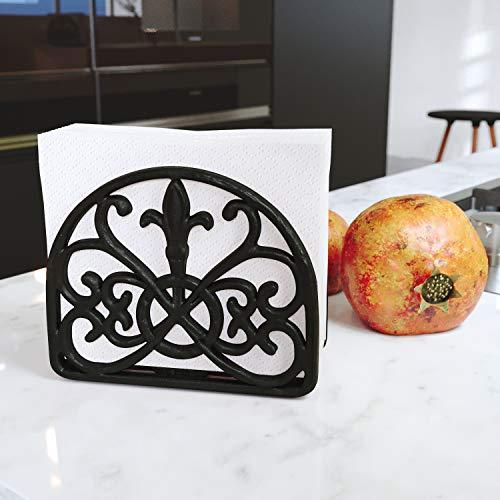 Home Intuition Fleur De Lis Collection Standing Cast Iron Napkin Holder, Weighted Design, Matte Black
