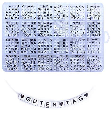 Lnvision 750 Stück A bis Z und Love Herz Weiss Acryl Würfelperlen Cube Alphabet Buchstaben Spacer Perlen 6x6mm Spacer Zwischenperlen Schmuck DIY Basteln (Weiss)