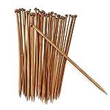 VOANZO 36 Unids/Set Agujas de Tejer Lisas de Ganchillo de bambú carbonizado para Agujas de Tejer suéter de Bufanda (25 cm)