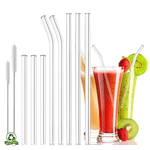 YINVA Glas Strohhalme Wiederverwendbar 10 Stück Glasstrohhalme, 3 Kurz + 3 Lange Geraden Glas-Strohhalme, 2 gebogenem Glas Trinkhalme mit 2 Reinigungsbürsten für Cocktails, Smoothie und Säfte