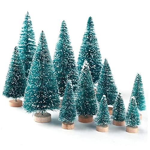 DierCosy Miniatura Mini árbol de Navidad árbol de Pino árboles pequeños sisal con la Nieve y de Madera de Base para la Navidad la decoración del hogar Regalo 12pcs