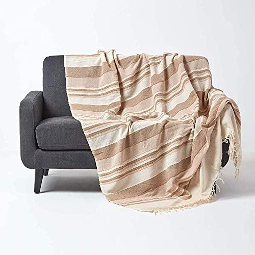 Homescapes Tagesdecke Morocco, beige, Sofa-Überwurf aus 100prozent Baumwolle, weiche Wohndecke 150 x 200 cm, Hellbraun gestreift, mit Fransen