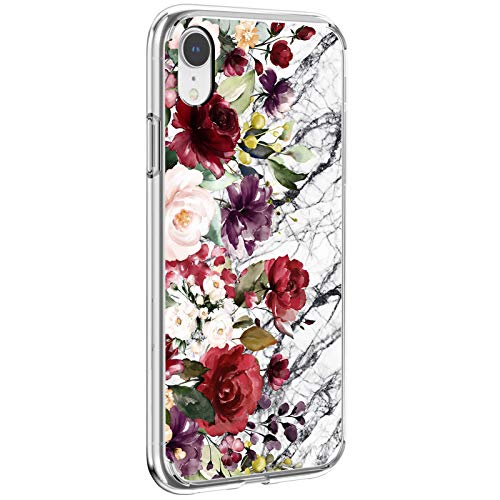 Funda iPhone XR Transparente Silicona Carcasa Flor Mármol Animal Patrón Estuche Suave Clear Ultra Delgado Anti-Choque Anti-arañazos Proteccion Caja para Apple iPhone XR (2)