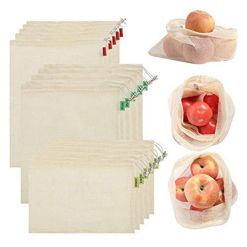 Bolsa de almacenamiento, reutilizable de algodón orgánico ecológico para frutas y verduras de almacenamiento de malla para productos agrícolas, paquete de 15