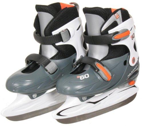 koenig-tom Nijdam Junior Eishockey Schlittschuhe Kinder größenverstellbar (30-33) (grau weiß orange)