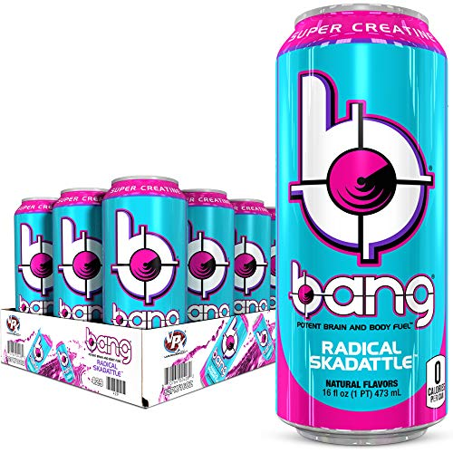 VPX Bang Radical Skadattle Energy Drink, 0 Calories, Sugar Free with Super Creatine, 16oz, 12 Count