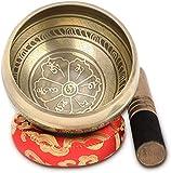 Tibetische Klangschale, 4.5' Handgefertigte Klangschalen Set Meditation Sound Bowl Set mit Dual...