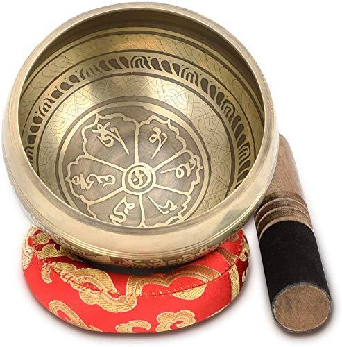 """Tibetische Klangschale, 4.5\"""" Handgefertigte Klangschalen Set Meditation Sound Bowl Set mit Dual Surface Mallet und Seide Kissen, Entspannung,Stress und Angst Relief"""