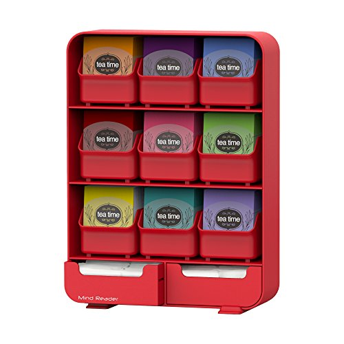 Mind Reader 9 Removable Drawers Tea Bag holder and Condiment Organizer, Red