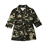 Toddler Baby Girl Comouflage Clothes Long Sleeve Button Camo Jean Jacket Coat Fall Outwear Dress with Belt (camo jacket,3-4t)