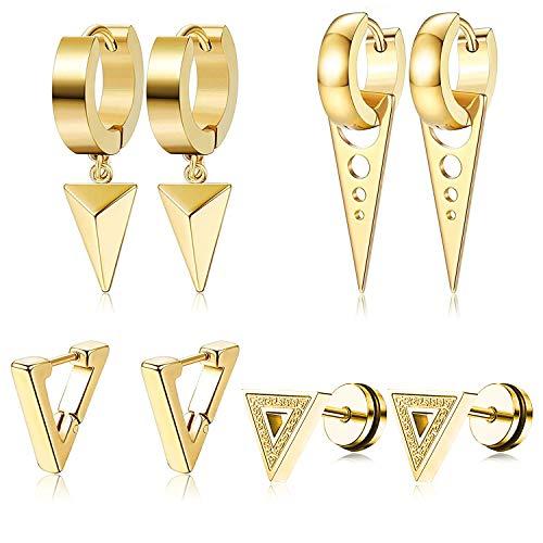 PROJEWE 4-6 Pares Aretes Triangulares Pendientes de Acero Inoxidable para Hombre Mujer Goticos Redondos de Aro Pendientes Colgantes Flecha Punk Cross Huggie Geométricos Pendientes Hipoalergeniños