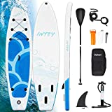 INTEY Stand Up Paddle Board Gonflable, Sup Planche 320×76×15cm en PVC Construction Ultra Robuste, Kit avec Pagaie, Pompe à Double Action, Sac à Dos, Boîte de réparation, Leash, Aileron - Modèle Vague