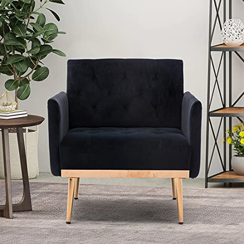 Modern Velvet Single Sofa Chair, Upholstered Accent Living Room Chair, Comfy Armchair with Rose Golden Metal Legs, Tufted Chair for Reading or Lounging (Black)