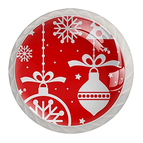 Merry Christmas Red Ornament 02  4 piezas