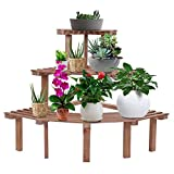 Yxsd 3 Tier Corner Flower Pot Stand Durable Natural Pine Wood Garden Rack Plant Display Shelf, Corner Flower Pot Holder Display Rack Stand, Natural Wood (Color : Wood Color)