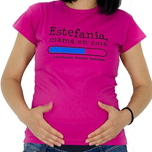 Calledelregalo Regalo Personalizable para Mujeres Embarazadas: Camiseta Futura mamá Personalizada con su Nombre y año (Rosa)