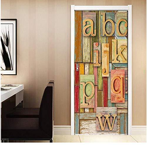 Doe-het-zelf brievenkleur, houten plank, retro, 3D-deurstickers, posters, muurschildering, PVC, waterdicht, zelfklevend, decoratie voor in de slaapkamer 77 * 200cm