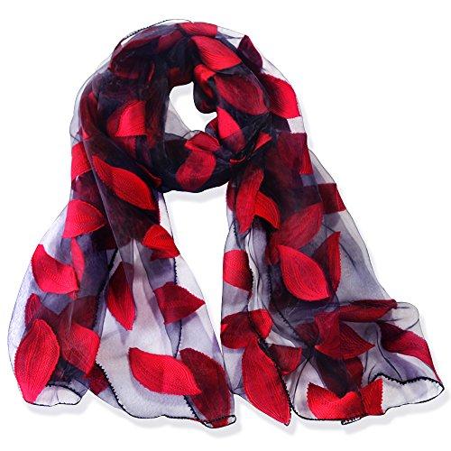 YFZYT Organza-Schal für Damen mit Feder Stickerei Muster/Elegantes Accessoire für Frauen/Organza-Schal/Halstuch/Schulter-Tuch/Schal Chiffon Stola Scarves - Weinrot Blätter