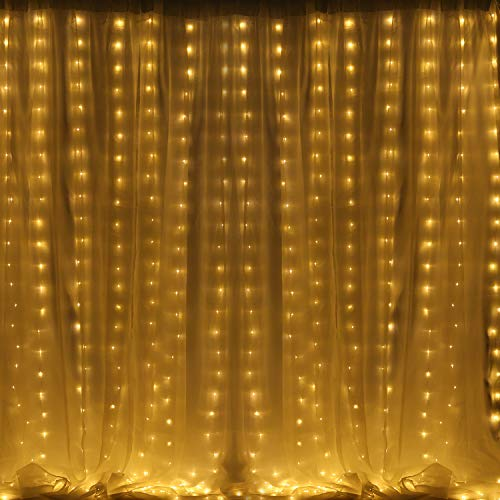 LED Curtain Lights Sound Activated 300 LED Curtain String Lights