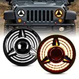 """LED Headlight for Wrangler, AAIWA 7"""" Round LED Headlights with Amber Turn Signal Daytime Running Light DRL High Low Beam Compatible with Jeep Wrangler JK TJ LJ"""