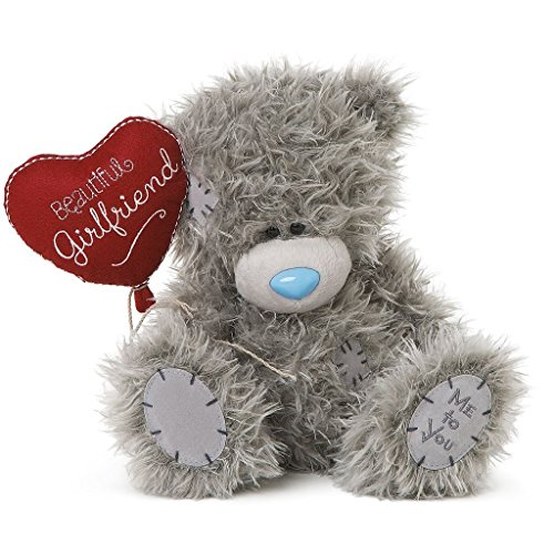 Me To You Tatty Teddy Plush - 'Beautiful Girlfriend' holding Heart Balloon - 8 inch sitting by Me To You