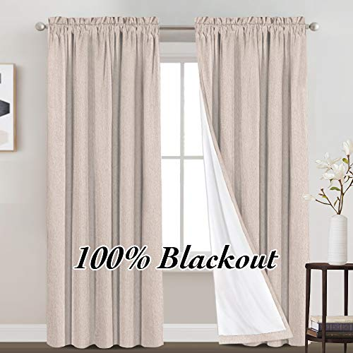 100% Blackout Curtains Primitive Linen Textured Curtain Drapes for Bedroom Full Light Blocking Window Curtains Draperies for Living Burlap Fabric Soft with White Liner (52 x 84 Inch, Natural)