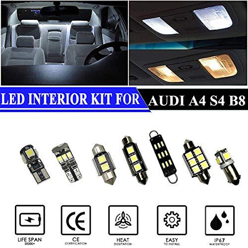 Hokuotolite Luces LED interiores de repuesto para Audi A4 S4 B8 2008 – 2013, kit de accesorios premium (14 bombillas), color blanco