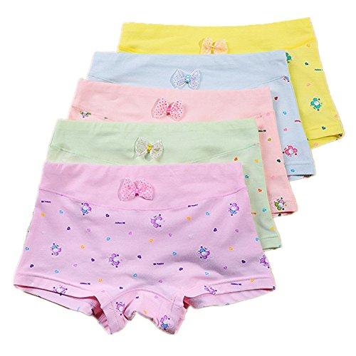 Little Girls' Boyshort Underwear Cotton Briefs Panties Set 5 Pack (7-9 years, A)