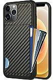 ZVEdeng Compatible with iPhone 12 Wallet Case, Card Holder Case for iPhone 12 Pro, Credit Card Holder Card Clip Case Shockproof Carbon Fiber Slim Card Grip Case for iPhone 12/12 Pro 6.1'' Black