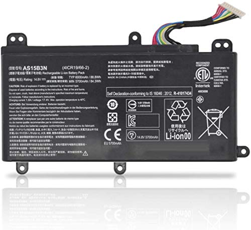 Ding AS15B3N Replacement Battery Compatible with Acer AS15B3N Predator 15 G9-591 G9-591G G9-592 G9-592G 17 G9-791 G9-791G G9-792 G9-792G 17X GX-791 Series Notebook KT.00803.004 4I (14.8V 88Wh 6000mAh)
