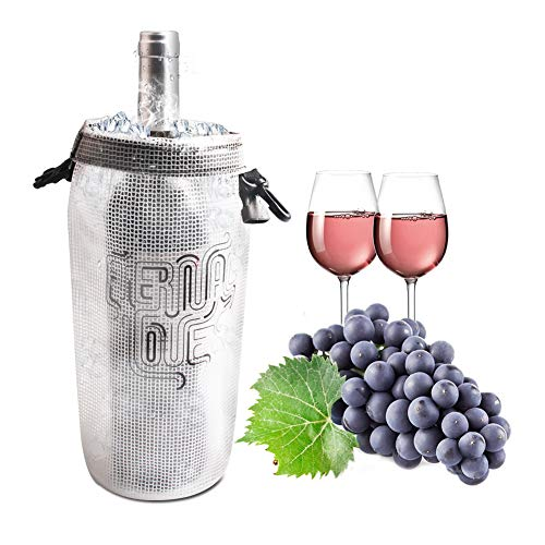 Wine Cooler Ice bag Protable Collapsible Clear Transparent PVC Wine Chiller Carrier No Freezing Needed Best Gift Bag for Women or Men Take Wine to Go or Outdoors keep Wine Insulated on Patio Pool